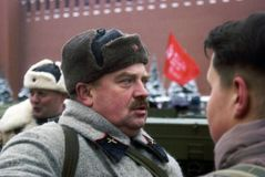 Reenactor on the Red Square in Moscow royalty free stock images