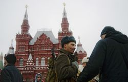 Reenactor on the Red Square in Moscow Royalty Free Stock Photos