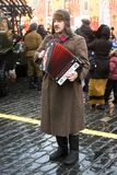 Reenactor sing songs on the Red Square in Moscow Royalty Free Stock Photography