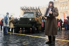Reenactor sing songs on the Red Square in Moscow Royalty Free Stock Photo