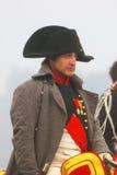 Reenactor som spelar Napoleon Bonaparte på Borodino Arkivfoto