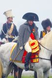Reenactor som spelar Napoleon Bonaparte på Borodino Royaltyfri Bild