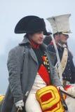 Reenactor som spelar Napoleon Bonaparte på Borodino Royaltyfria Bilder