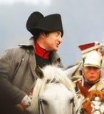 Reenactor w Napoleon Bonaparte'e rola Obraz Royalty Free