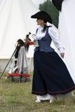 Reenactor woman at Borodino battle historical reenactment in Russia Royalty Free Stock Photography