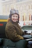 Reenactor woman on the Red Square in Moscow Stock Photos