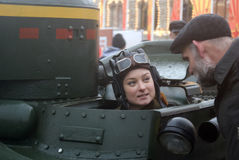 Reenactor woman on the Red Square in Moscow Royalty Free Stock Photo