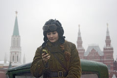 Reenactor woman on the Red Square in Moscow Stock Images
