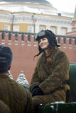 Reenactor woman on the Red Square in Moscow Royalty Free Stock Photography