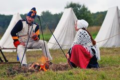 Reenactors couple at Borodino Stock Photo