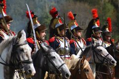 Free Reenactors Cuirassiers Ride Horses At Borodino Battle Historical Reenactment In Russia Stock Image - 125264241