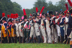 Reenactors from different clubs stand for a parade Royalty Free Stock Image