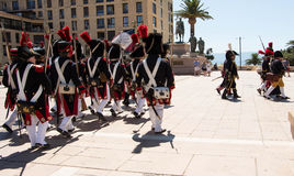 The reenactors dressed as Napoleonic soldiers, Ajaccio , Corsica Stock Photo