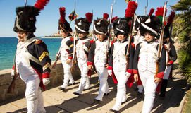The reenactors dressed as Napoleonic soldiers, Ajaccio , Corsica Stock Photography