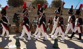 The reenactors dressed as Napoleonic soldiers, Ajaccio , Corsica Stock Photos