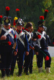 Reenactors dressed as Napoleonic war soldiers at Borodino Stock Photos