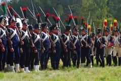 Reenactors dressed as Napoleonic war soldiers at Borodino. MOSCOW REGION - SEPTEMBER 07, 2014: Reenactors dressed as Napoleonic war soldiers at Borodino battle Stock Images
