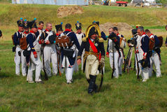 Reenactors dressed as Napoleonic war soldiers at Borodino stock images