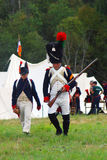 Reenactors dressed as Napoleonic war soldiers at Borodino Royalty Free Stock Images