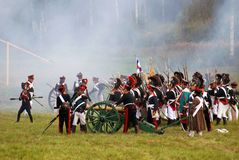 Reenactors dressed as Napoleonic war soldiers Stock Photography
