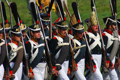 Reenactors dressed as Napoleonic war soldiers Royalty Free Stock Photo