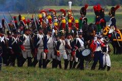 Reenactors dressed as Napoleonic war soldiers Stock Image