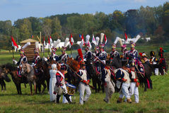 Reenactors dressed as Napoleonic war soldiers Stock Images