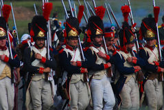 Reenactors dressed as Napoleonic war soldiers Royalty Free Stock Images