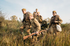 Free Reenactors Dressed As Russian Soviet Red Army Soldiers Of World War II Royalty Free Stock Image - 92895196