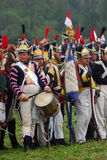 Reenactors holding a French flag. Stock Photography