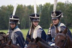 Reenactors kobiety przy Borodino batalistycznym dziejowym reenactment w Rosja Zdjęcia Royalty Free