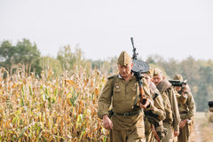 Reenactors Men Dressed As Russian Soviet Red Army Infantry Soldiers Stock Images