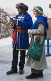 Reenactors na celebração de Shrovetide em Moscou Imagens de Stock Royalty Free