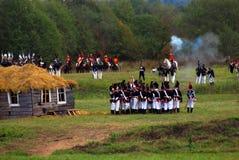 Reenactors s'est habillé en tant que soldats de guerre napoléonienne Image libre de droits