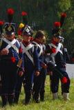 Reenactors se vistió como soldados de la guerra napoleónica en Borodino Fotos de archivo