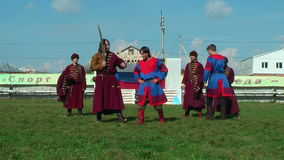 Reenactors in 18th century russian army uniform stock video footage