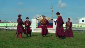 Reenactors in 18th century russian army uniform stock video