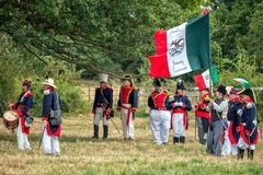 Mexican Soldiers c1835, Spetchley Park, Worcestershire, England. Reenactors in the uniforms of mainly officers at the time of the Texas Revolution 1835-36. They stock images