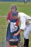 Reenactors woman and man at Borodino battle historical reenactment in Russia Stock Images