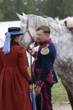 Reenactors woman and man at Borodino battle historical reenactment in Russia Royalty Free Stock Photos
