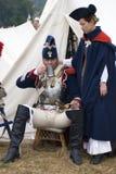 Reenactors woman and man at Borodino battle historical reenactment in Russia Stock Photos