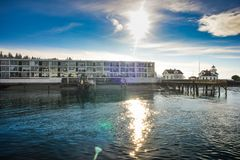 Residence That Line The Waterfront At Mukilteo Ferry Terminal As The Boat Is Departing To Whidbey Island On A Cold Winter Morning. Reence That Line The Royalty Free Stock Image
