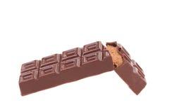 Reep chocolade met het vullen stock foto's