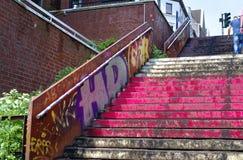 Reeperbahn en la ciudad de Hamburgo Alemania Europa el distrito del entretenimiento en el distrito de St Pauli un día después de  Fotos de archivo libres de regalías