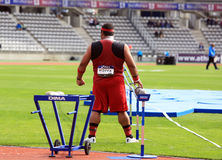Reese Hoffa on DecaNation International Outdoor Games. On September 13, 2015 in Paris, France. American shot putter, World Champion, won bronze medal at 2012 Stock Image