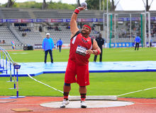 Reese Hoffa on DecaNation International Outdoor Games. On September 13, 2015 in Paris, France. American shot putter, World Champion, won bronze medal at 2012 Stock Photography