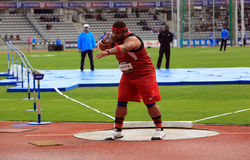 Reese Hoffa on DecaNation International Outdoor Games on September 13, 2015 in Paris, France. American shot putter, World Champion. Won bronze medal at 2012 Stock Photos