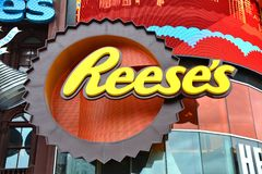 Reese`s logo shop at New York New York hotel and casino facade royalty free stock photography