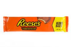 Reese`s package. Reese`s Peanut butter cups king size package isolated on white, Hershey Company. Munich 3-04-2018 Royalty Free Stock Photo