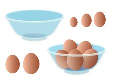 Fresh eggs are in a clear cup on White background illustration stock illustration